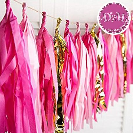 Guirnalda de tiras rosa y oro