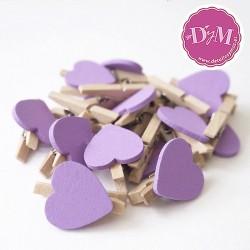 Pinzas de madera corazón Lila
