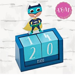 Calendario de madera Super Heroe