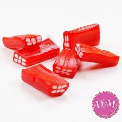 Ladrillo rojo de regaliz relleno. Acabado brillo