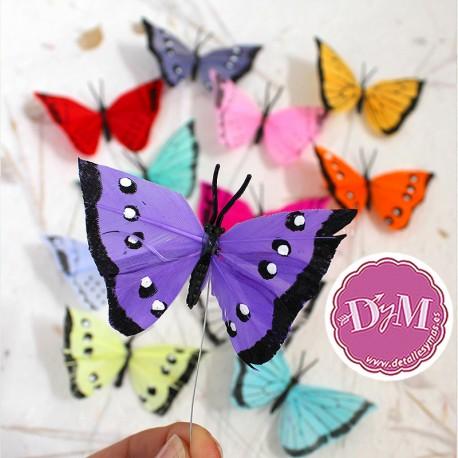 Mariposas de plumas con imán.Pack 6