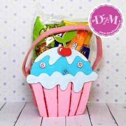 Cesta de fieltro Cupcake con chuches