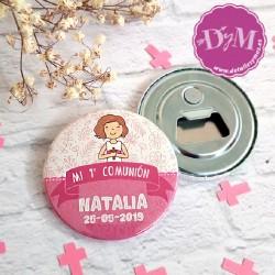 Chapa espejo o abrebotellas de comunión Natalia