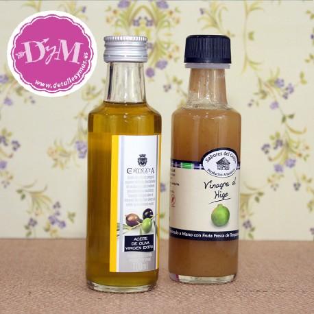 Aceite de oliva y Vinagre de Higo en botella