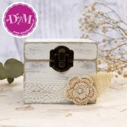 Caja porta anillos blanco vintage