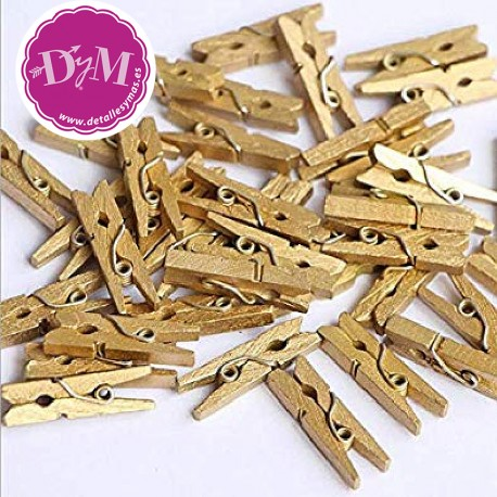 Mini pinza dorada de madera