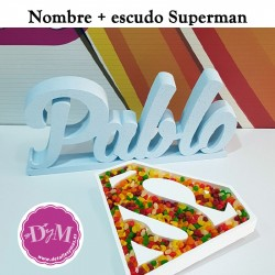 Nombre en color + escudo Superman