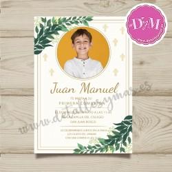 """Invitación de comunión con foto """"Manuel"""" """""""