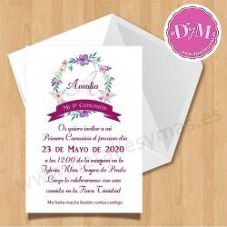 Invitación de comunión Violetas