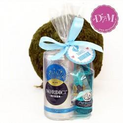 Pack Gin tonic Puerto de Indias azul con lazo y tarjeta