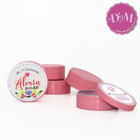 Vaselina personalizada en latita rosa