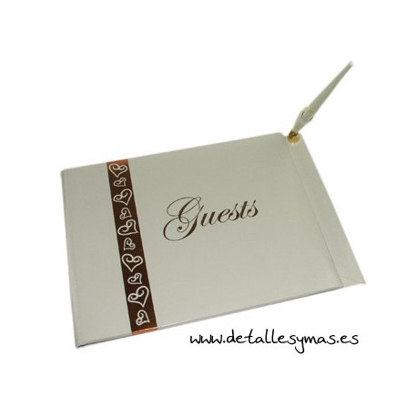 Libro de firmas Corazones en oro