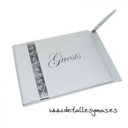 Libro de firmas corazones en plata