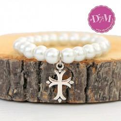Pulsera perlas con cruz