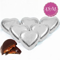 Corazones chocolate plata . 1 kg