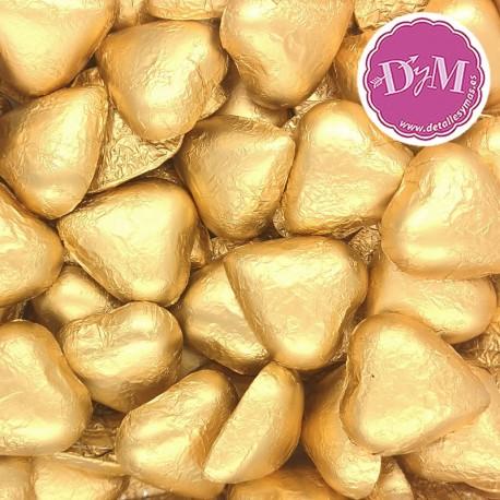 Corazones chocolate oro . 1 kg
