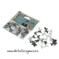 Confetti metálico en forma de mariposa