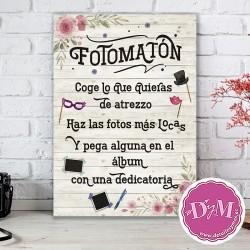 Cartel Madera Fotomatón