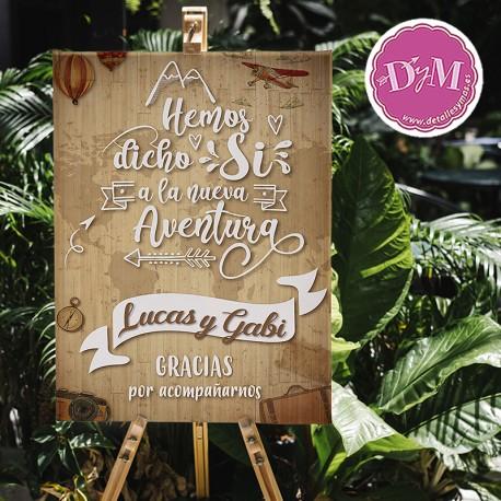 Cartel boda Aventura