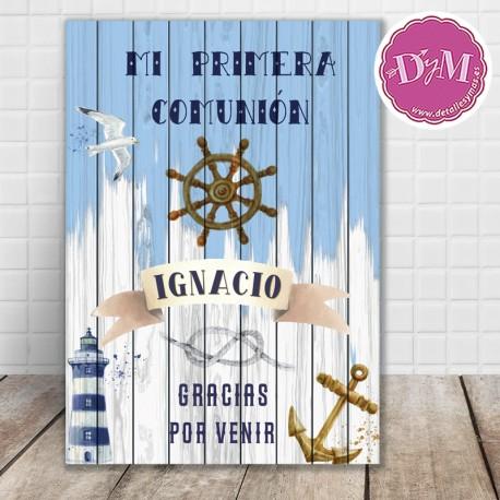 """Cartel Madera """"Bienvenidos a mi Comunión"""""""