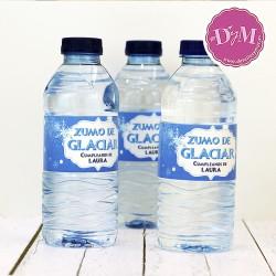 Bandas azules Frozen para botellas de Agua