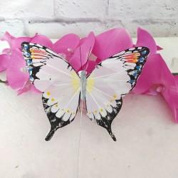 Mariposa de Plumas blanca mod. Zambia