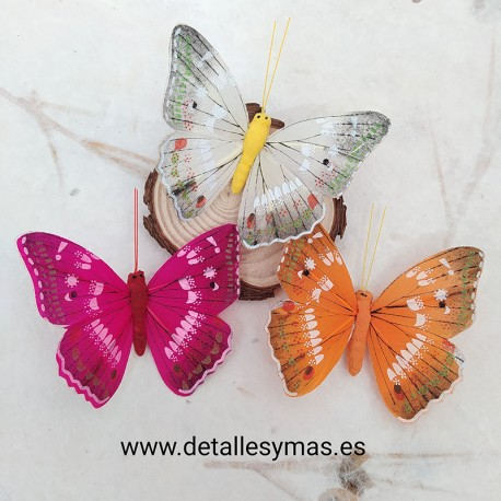 Juego de 3 mariposas de plumas