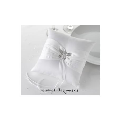 Cojin para anillos Mariposa en Blanco